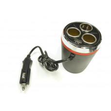 Авторазветвитель 3 гнезда кружка + USB 12V-24V Olesson 1514