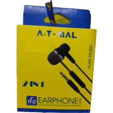 Наушники earphone вакуумные с микрофоном A T MAL