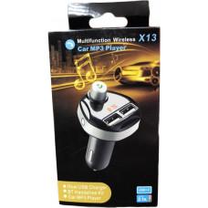 Автомобильный FM-трансмиттер X13 Wireless 2USB