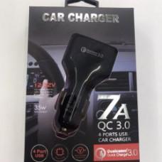 Автомобильное зарядное устройство в прикуриватель 4 порта USB 7A/QC3.0