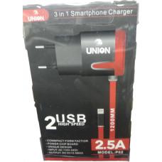 Сетевое зарядное устройство UNION iPhone black/white